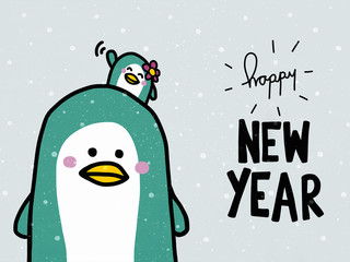 Happy New Year word and cute couple penguin lover cartoon illustration doodle style