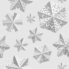 Winter seamless background with snowflakes. Winter holiday and Christmas background. Vector illustration