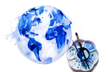 Abstract Globe, brushes and palette, Watercolour textured collection.