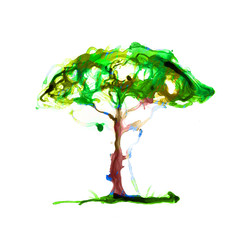 Abstract tree made of watercolour