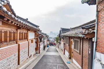 typical wooden pagoda houses in the metropolitan district of Seoul in South Korea