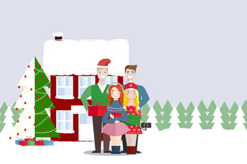 Friends of a woman and a man are standing near to a Christmas tree and house and taking a photo in the phone. Four people. People outdoor. Christmas party. New Year party. Vector illustration.