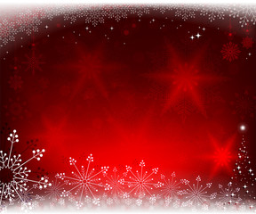 christmas red background with fir tree
