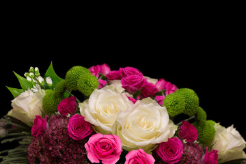 Beautiful white and pink roses isolated on black