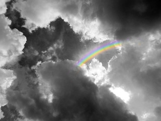 rainbow middle heap gray cloud black white color