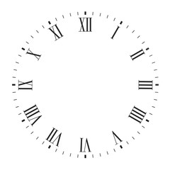 Vector clock face blank with roman numerals