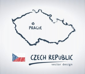Czech Republic sketch chalk drawing map isolated on a white background