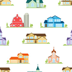 American houses, churches and farm seamless pattern.