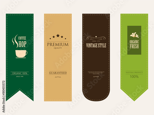 natural label and organic label green color and ribbon paper