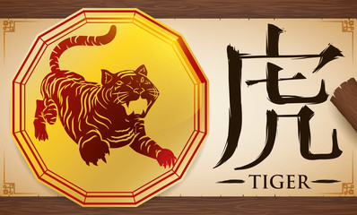Scroll with Medal with Chinese Zodiac Tiger over Wooden Background, Vector Illustration