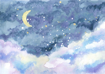 watercolor painting of night sky with crescent moon among stars and clouds, hand drawn landscape illustration