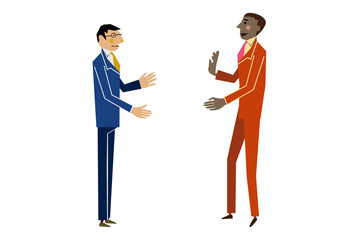 挨拶する顧客と営業。ビジネスシーン。