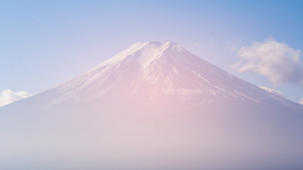 Fuji volcano mountain top view, natural landscape background