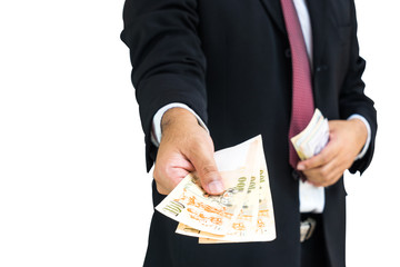 businessman give money to you on isolate