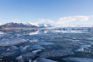Winter Jokulsarlon ice lagoon with clear blue sky background, Iceland
