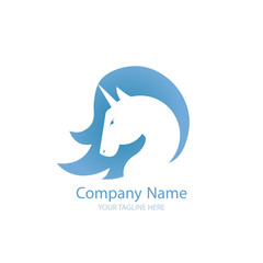 Logo with a unicorn for your company. Pegasus Icon. Gradient flat illustration.