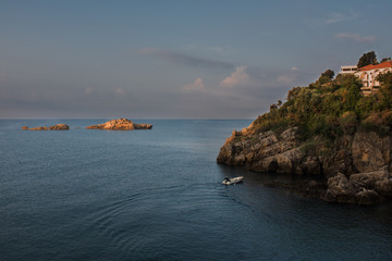 Montenegro, city of Ulcinj, the month of October, the Adriatic sea, morning, the boat with the fisherman.
