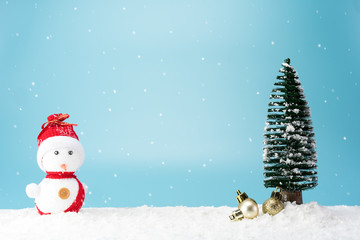 Christmas trees and cute snowman