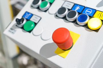 Emergency button on the conveyor belt waste recycling plant, for protect accident and stop machine immediately.