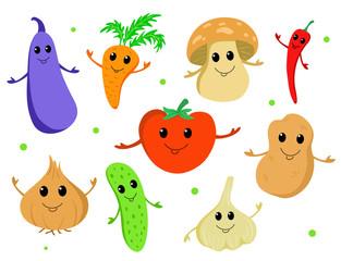 Set of cute cartoon vegetables