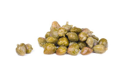 Marinated capers isolated on white background. Canned capers. Macro