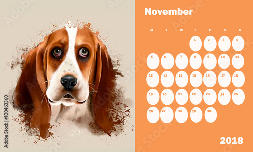 calendar for 2018 on november with dog portrait basset hound close up on white background