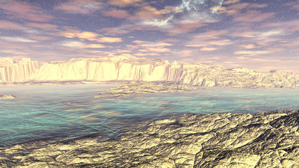Fantasy alien planet. Rocks and lake. 3D rendering