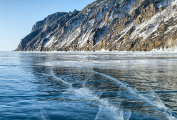transparent ice and cracks of Baikal