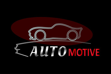 Automotive Logo design template, Lined pattern on a dark red backdrop. Automotive concept. Vector illustration design EPS10