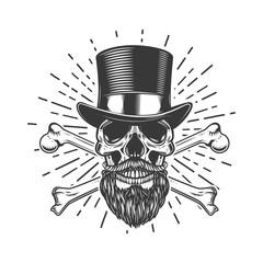 Bearded skull in vintage hat. Crossed bones. Design element for poster, emblem, sign, t shirt. Vector illustration