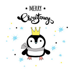 Cute Merry Christmas winter card with penguin in crown and scarf,