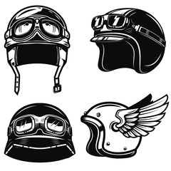Set of racer helmets on white background. Design element for poster, emblem, sign. Vector illustration