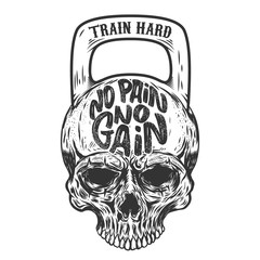 No pain no gain. Train hard. Skull in the form of a weight. Vector design element