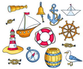 Set of sea objects