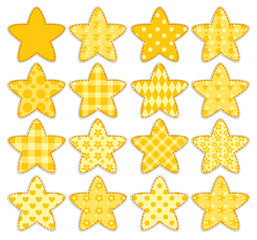 Set of patchwork stars