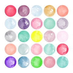 Set of watercolor shapes. Watercolors blobs. Set of colorful watercolor hand painted circle isolated on white. Illustration for artistic design. Round vector stains, blobs of different color