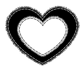 Silhouette of sewing heart with a fringe.