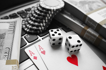 Online Poker With Red Aces With Black & White Background