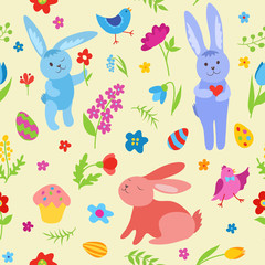 Cute Easter rabbits seamless pattern