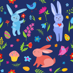 Cute Easter rabbits seamless pattern blue