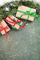 Christmas gift boxes and snow tree