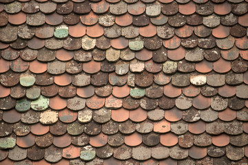 traditional italian roof tiles, ancient rain protection in the northeast of Italy