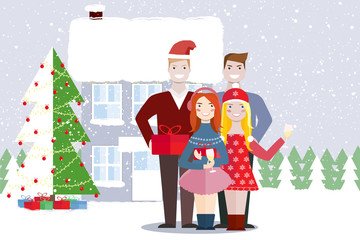 Young people friends outdoors on  background of house and christmas tree. People hold in  hands boxes of  gifts and glasses of champagne. Snowfall. Vector illustration.