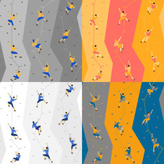 Seamless pattern with climbers on climbing wall.