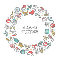 "Christmas greeting card. Hand drawn isolated elements creating a circle around ""Season's Greetings"" text. Vector illustration."