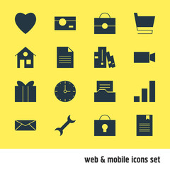 Vector Illustration Of 16 Internet Icons. Editable Pack Of Portfolio, Bookmark, Document Directory And Other Elements.