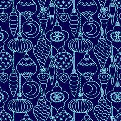 Christmas tree decorations seamless pattern blue