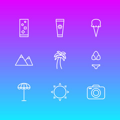 Vector Illustration Of 9 Season Outline Icons. Editable Pack Of Swimwear, Hill, Cocktail And Other Elements.