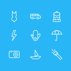 Vector Illustration Of 9 Camping Outline Icons. Editable Pack Of Transportation, Photo Apparatus, Flashlight And Other Elements.