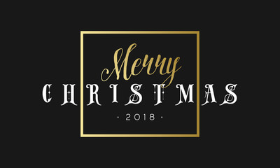 Merry Christmas phrase in frame. Luxury black and golden color background. Premium vector illustration with typographic text for winter holidays card poster, flyer or banner template